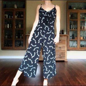 VINTAGE 80's Betsey Johnson Jumpsuit Bow Pattern